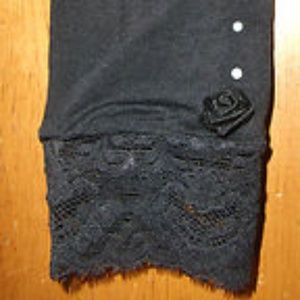 Black Rose lace faux Pearls Leggins Tights
